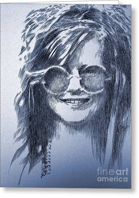 Robbi Musser Drawings Greeting Cards - Janis Joplin Greeting Card by Robbi  Musser