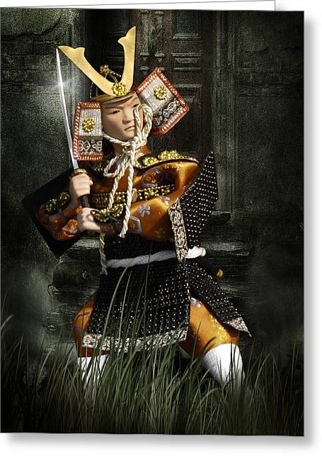 Asian Art Greeting Cards - Japanese Samurai Doll Greeting Card by Christine Till