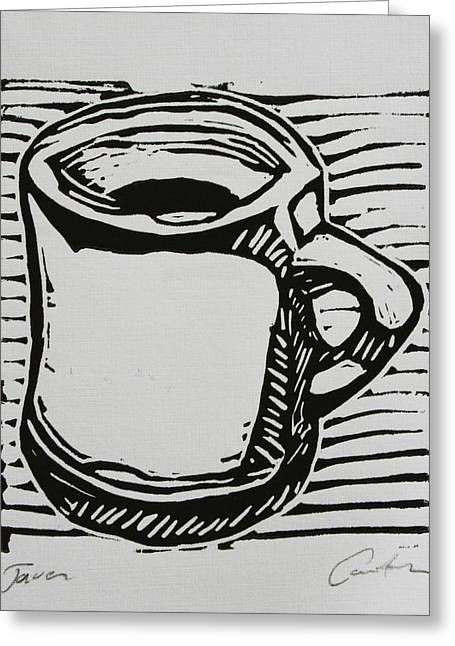 Lino Drawings Greeting Cards - Java Greeting Card by William Cauthern