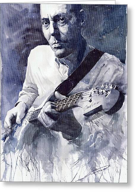 Guitarist Greeting Cards - Jazz Guitarist Rene Trossman  Greeting Card by Yuriy  Shevchuk