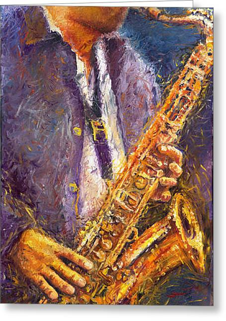 Jazz Greeting Cards - Jazz Saxophonist Greeting Card by Yuriy  Shevchuk