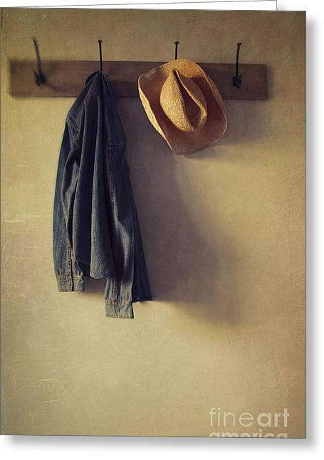 Best Sellers -  - Coat Hanger Greeting Cards - Jean shirt and straw hat hanging on hooks Greeting Card by Sandra Cunningham