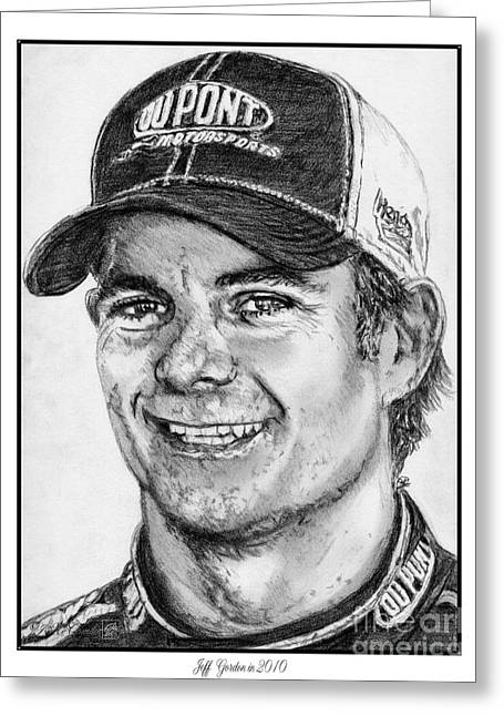 All American Drawings Greeting Cards - Jeff Gordon in 2010 Greeting Card by J McCombie