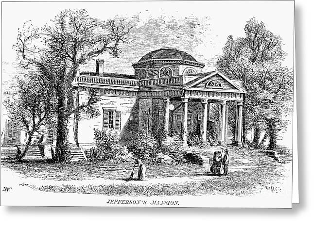 19th Century America Greeting Cards - Jefferson: Monticello Greeting Card by Granger