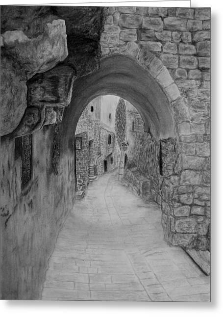 Jerusalem Old Street Greeting Card by Marwan Hasna - Art Beat