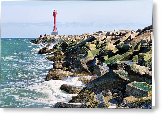 Scusset Beach. Greeting Cards - Jetty Greeting Card by Janice Drew