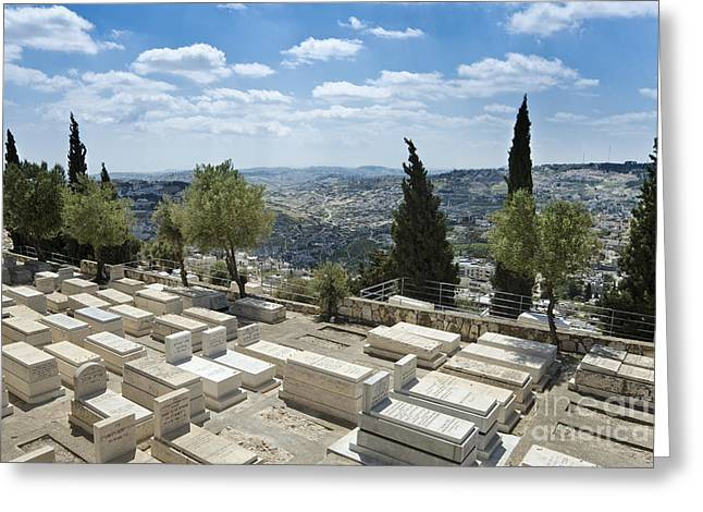 Mount Olives Greeting Cards - Jewish Graveyard on the Mount of Olives Greeting Card by Noam Armonn