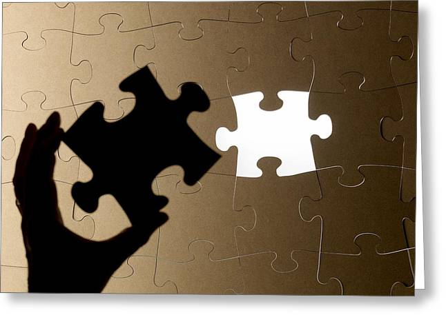 Missing Greeting Cards - Jigsaw Puzzle Greeting Card by Tek Image