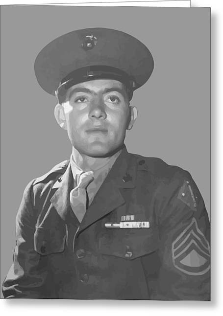 Navy Cross Greeting Cards - John Basilone Greeting Card by War Is Hell Store
