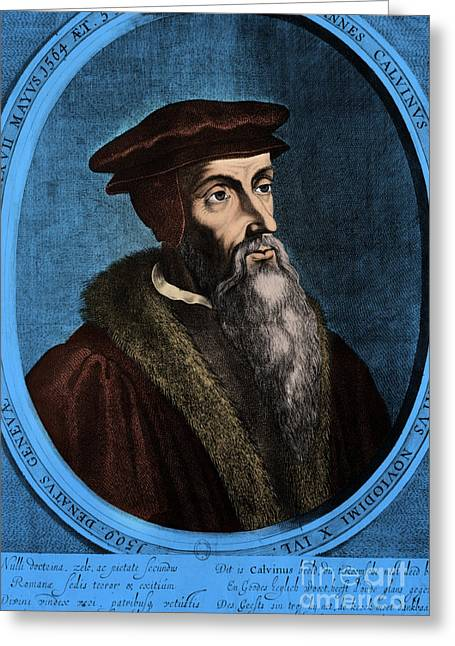 Clergyman Greeting Cards - John Calvin, French Theologian Greeting Card by Omikron