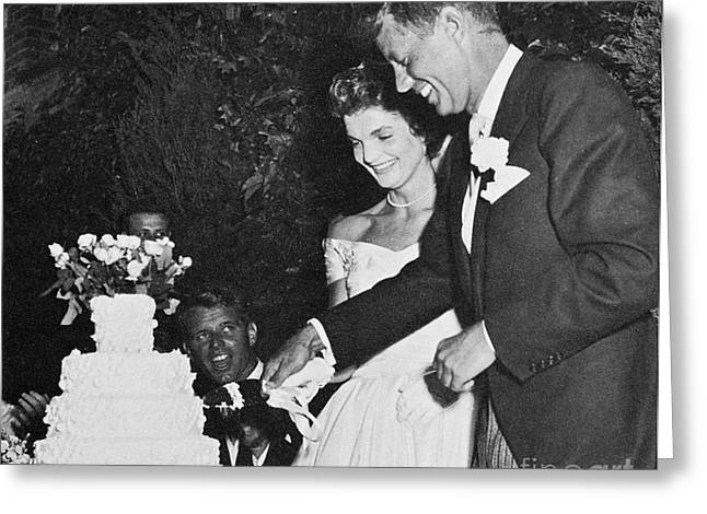 Jackie Kennedy Onassis Greeting Cards - John F. Kennedy (1917-1963) Greeting Card by Granger