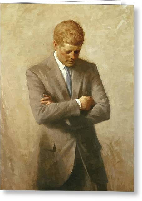 Presidents Paintings Greeting Cards - John F Kennedy Greeting Card by War Is Hell Store