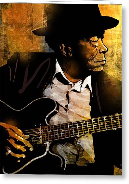 African-american Paintings Greeting Cards - John Lee Hooker Greeting Card by Paul Sachtleben