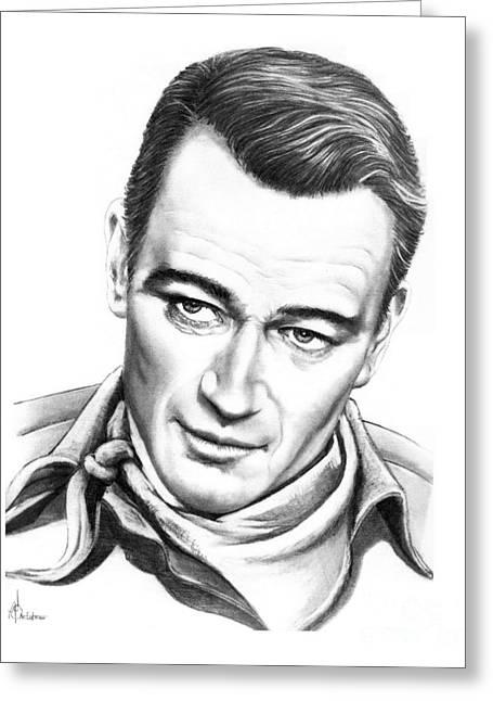 John Wayne Drawings Greeting Cards - John Wayne Greeting Card by Murphy Elliott