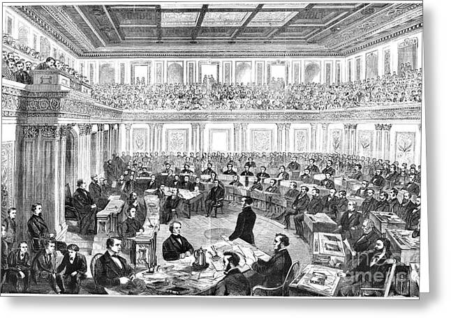 Chief Justice Greeting Cards - Johnson Impeachment, 1868 Greeting Card by Granger