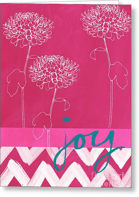 Pink Flower Greeting Cards - Joy Greeting Card by Linda Woods