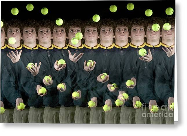 Stroboscopic Images Greeting Cards - Juggler Greeting Card by Ted Kinsman