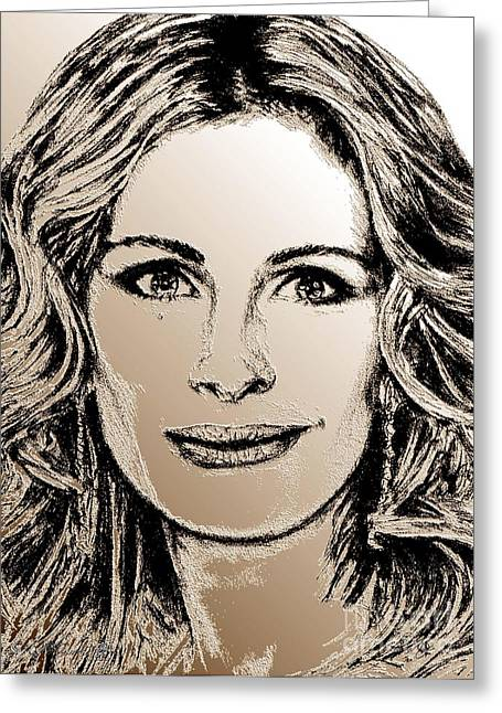 Award Mixed Media Greeting Cards - Julia Roberts in 2008 Greeting Card by J McCombie