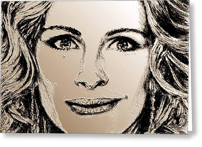 Julia Roberts in 2008 Greeting Card by J McCombie