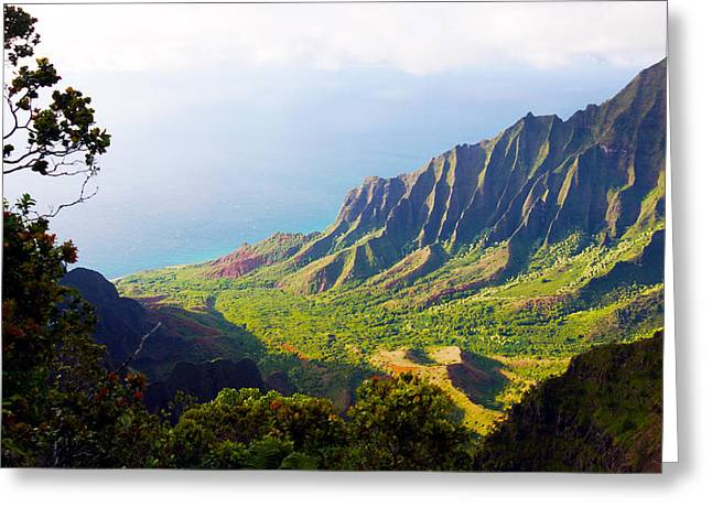 Kevin W. Smith Greeting Cards - Kalalau Valley Lookout Kauai Greeting Card by Kevin Smith