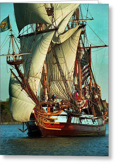 Boat Hardware Greeting Cards - Kalmar Nyckel Under Sail Greeting Card by Skip Willits