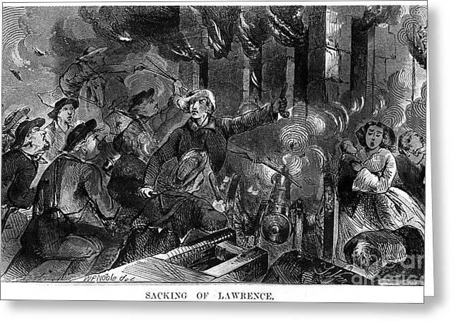 Pro Slavery Greeting Cards - Kansas: Lawrence, 1856 Greeting Card by Granger