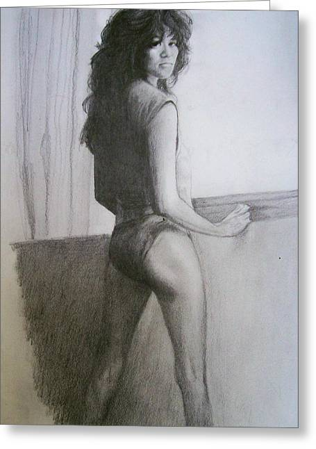 ; Maui Drawings Greeting Cards - Kathy Collins - Memorabilia Table - Sexy Legs by Windowsill Greeting Card by Anne Provost