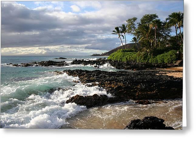 Beach Themed Art Greeting Cards - Ke Lei Mai La O Paako Oneloa Puu Olai Makena Maui Hawaii Greeting Card by Sharon Mau