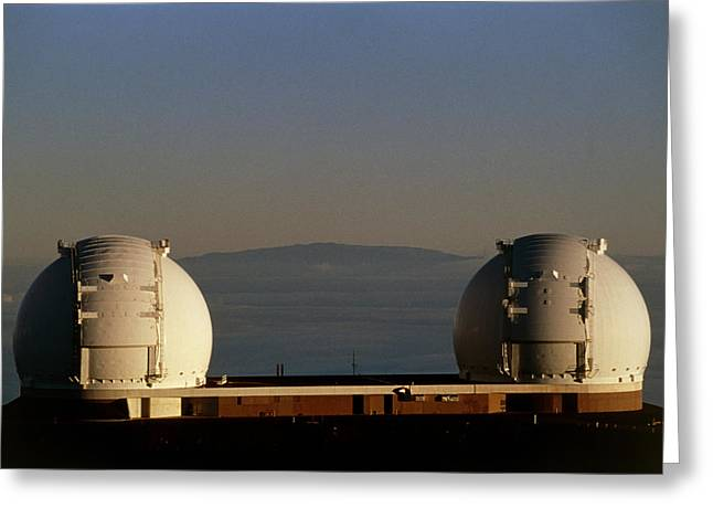 Telescope Domes Greeting Cards - Keck Telescope Domes Greeting Card by G. Brad Lewis