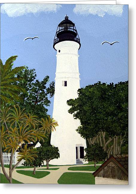 Landscapes Greeting Cards - Key West Lighthouse Greeting Card by Frederic Kohli