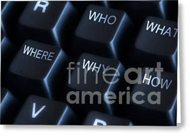 Keyboard Photographs Greeting Cards - Keyboard with question labels Greeting Card by Blink Images