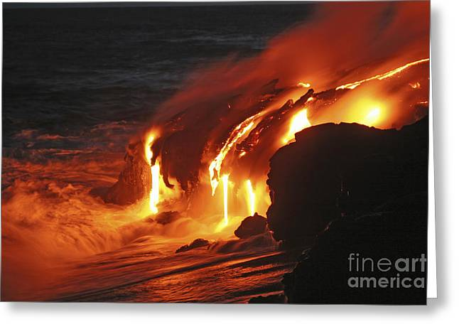 Hot Water Greeting Cards - Kilauea Lava Flow Sea Entry, Big Greeting Card by Martin Rietze