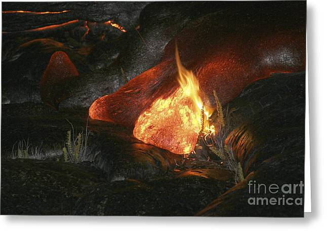 Vulcanology Greeting Cards - Kilauea Pahoehoe Lava Flow, Big Island Greeting Card by Martin Rietze