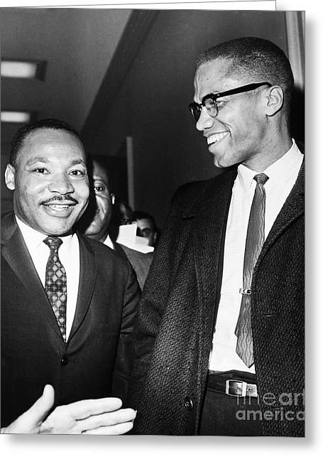 Recently Sold -  - Civil Greeting Cards - King And Malcolm X, 1964 Greeting Card by Granger