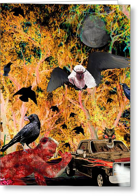 Raven Greeting Cards - Kiss me before you go Greeting Card by Tisha McGee