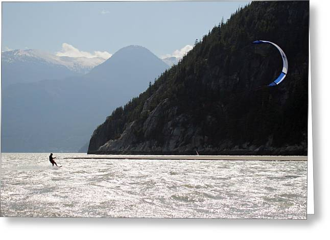 Kite Surfing Greeting Cards - Kite surfing the Spit in Squamish B.C Canada Greeting Card by Pierre Leclerc Photography