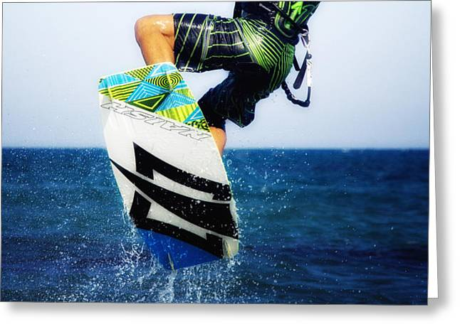 kitesurfer Greeting Card by Stylianos Kleanthous