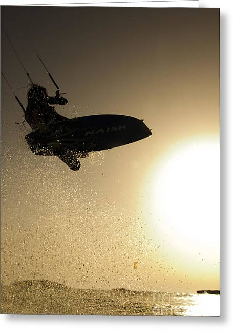 Para Surfing Greeting Cards - Kitesurfing at sunset Greeting Card by Hagai Nativ