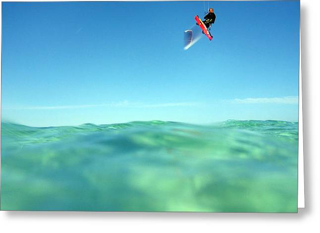 Kitesurfer Greeting Cards - Kitesurfing Greeting Card by Stylianos Kleanthous