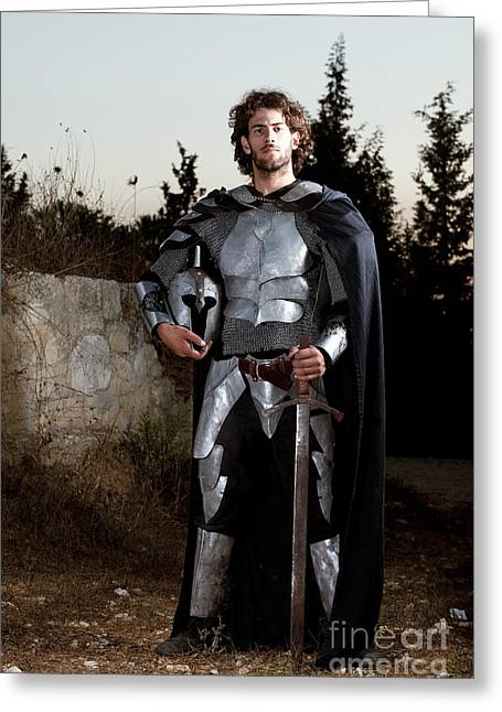Re-enact Greeting Cards - Knight In Shining Armour Greeting Card by Yedidya yos mizrachi