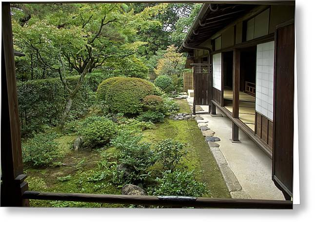 Kyoto Greeting Cards - Koto-in Zen Temple Side Garden - Kyoto Japan Greeting Card by Daniel Hagerman