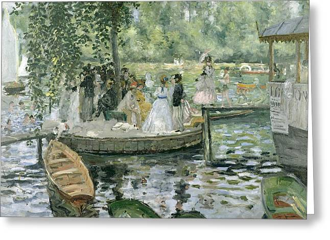 Dock Greeting Cards - La Grenouillere Greeting Card by Pierre Auguste Renoir
