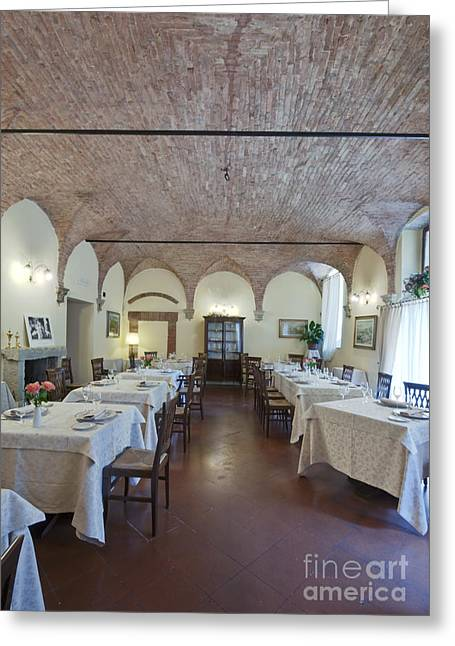 Table Cloth Greeting Cards - La Grotta Restaurant Dining Room Greeting Card by Rob Tilley
