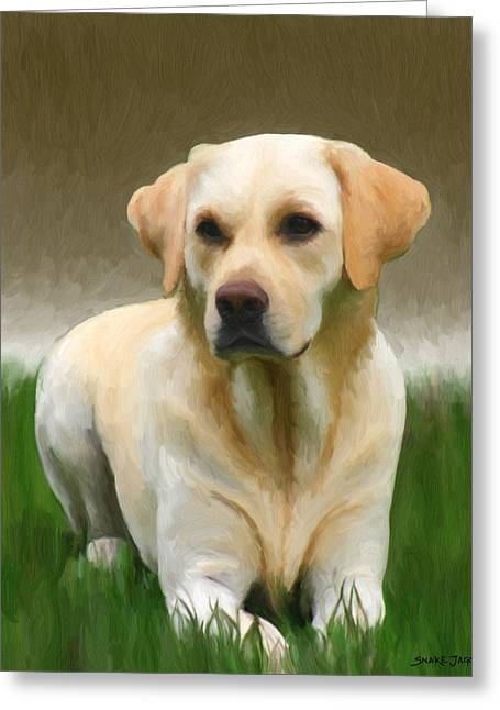Mixed Media Greeting Cards - Labrador Retriever Greeting Card by Snake Jagger