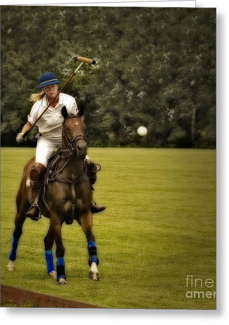 Polo Player Greeting Cards - Ladies Polo  Greeting Card by Susan Candelario