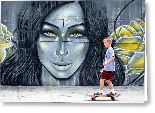 Boy On Skateboard Greeting Cards - Lady And The Rose Greeting Card by Fraida Gutovich