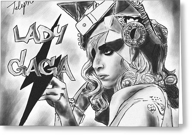 Kenal Louis Greeting Cards - Lady Gaga Telephone Drawing Greeting Card by Kenal Louis