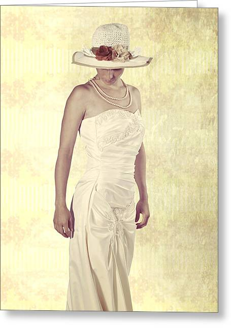 Sun Hat Greeting Cards - Lady in white dress Greeting Card by Joana Kruse