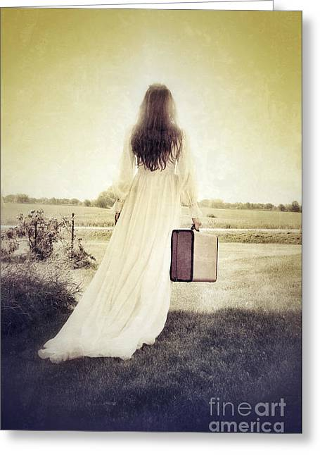 Bridal Gown Greeting Cards - Lady in White Vintage Gown Walking Away Greeting Card by Jill Battaglia