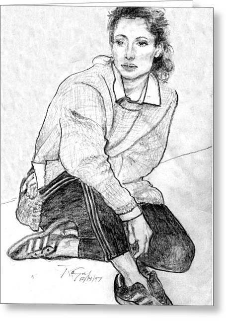 Eyelash Drawings Greeting Cards - Lady Pencil Portrait Greeting Card by Romy Galicia